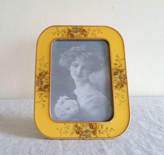 Bucklers Yellow Enamel Frame with Floral Details, Large Vintage ...