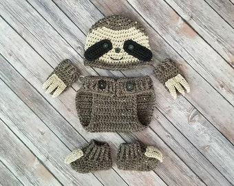 Baby Sloth Outfit | Sloth Costume | Newborn Sloth Photo Set | Sloth Baby Gift | Sloth Nursery | Newborn Photo Prop | Crochet Sloth Hat