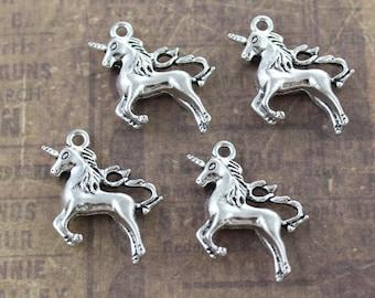 10 Unicorn Charms Unicorn Pendants  Antiqued Silver Tone 3D 20 x 25 mm
