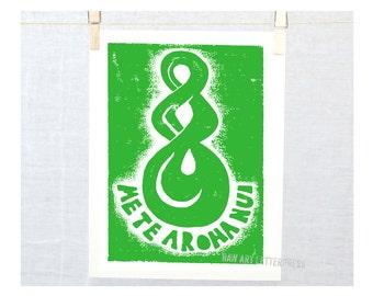 Maori Me Te Aroha Nui - With all my love with Maori twist symbol New Zealand, Valentines Day,  Typography Print, Raw Art Letterpress