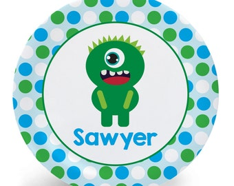 Child's Plate - Monster Plate - Green Monster Melamine Bowl or Plate Custom Personalized with Childs Name
