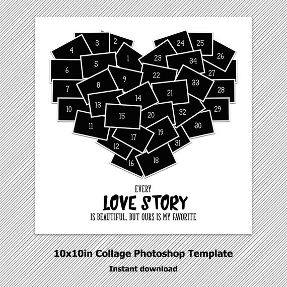 Heart Collage Photoshop Template Storyboard Psd