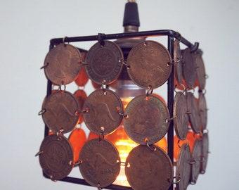 Old Australian penny hanging pendent light
