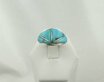 """Hallmarked """"SRa"""" Turquoise Inlay Vintage Southwest Native American Sterling Silver Ring #SRA-SR5"""