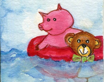 ACEO Original Pig painting, Art Card, Whimsical pig art, miniature painting, watercolors paintings, swimming pig, waves, ocean