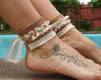 Suede and Flowers Ankle Cuffs