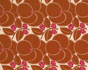 Amy Butler Hapi Heart Bloom Nutmeg Fabric by 1 yard