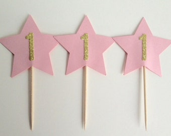 1st Birthday Pink and gold Star Cupcake Toppers