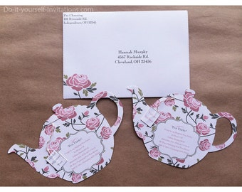 Printable All Occasion Tea Party Invitation- Tea Pot Invitation Template- Victorian White with Pink Roses INSTANT DOWN