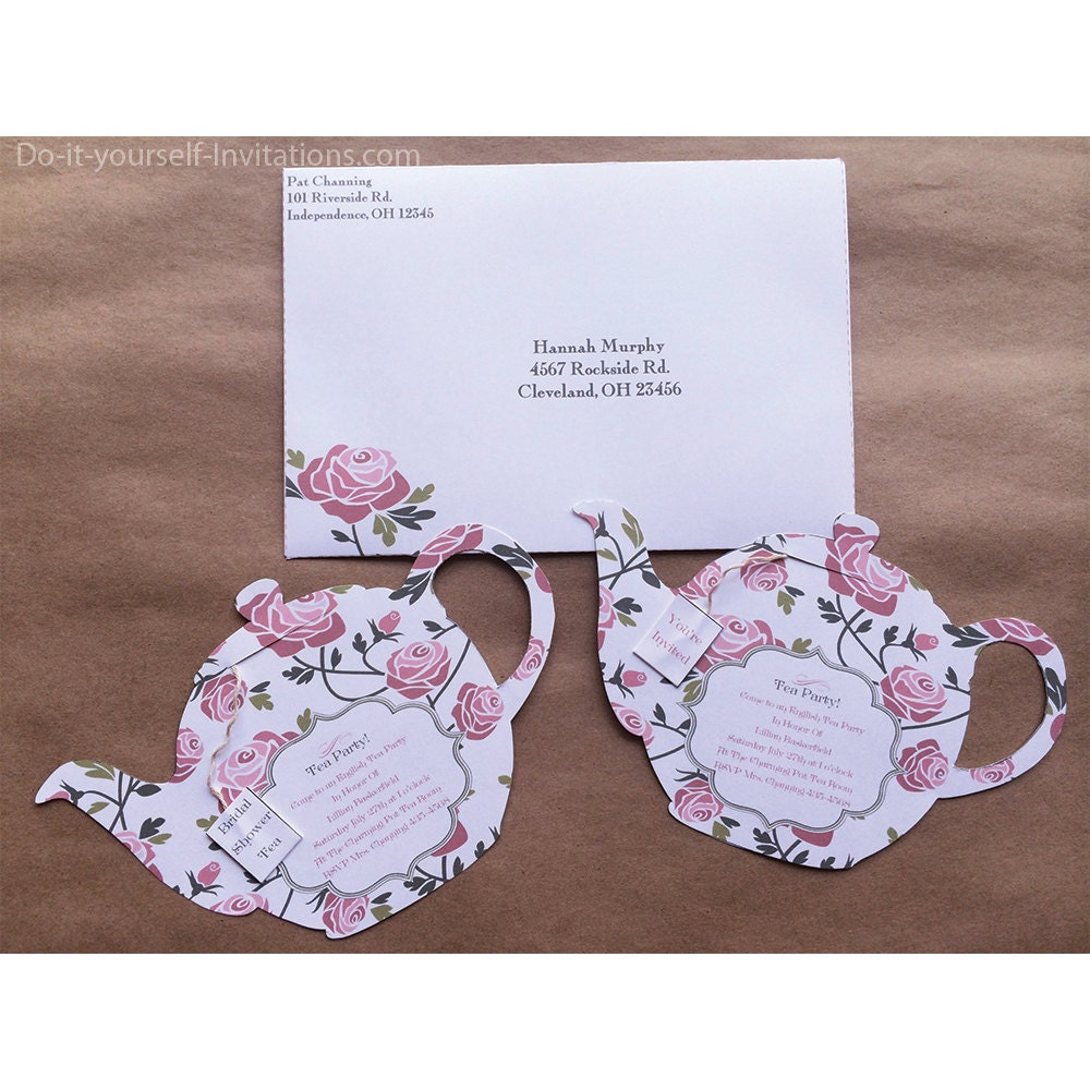 Printable All Occasion Tea Party Invitation Tea Pot