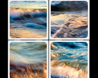 siklosphoto Golden Water Ceramic Coasters Set