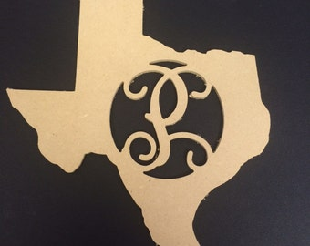 Unpainted, Monogrammed States with Your Choice of the Letter! 12''x11''x1/4''
