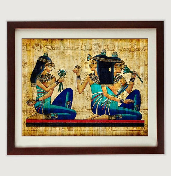 Egyptian Queen Wall Art Print Parchment Paper Old Antique