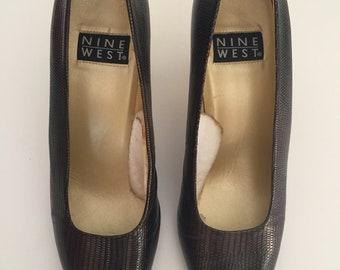 NINE WEST vintage texture snake leather brown color sz 8, 8.5