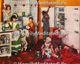 Vintage CHILDREN IN KITCHEN Art Print | Instant Download | Vintage Graphic | Historical Art | Digital Print | Vintage Clipart | Printable
