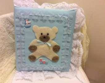Vintage Handmade Fabric and Lace Baby Memory Keepsake Book, Teddy  Bear, Shabby Chic Picture Book, Nursery Decor, Baby Gift, Photo