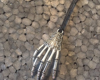 Large Scary Skeleton Hand Necklace Halloween!