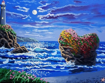 Large oil painting / coastal wall art / seascape painting / textured wall art / original painting / beach decor / ocean painting