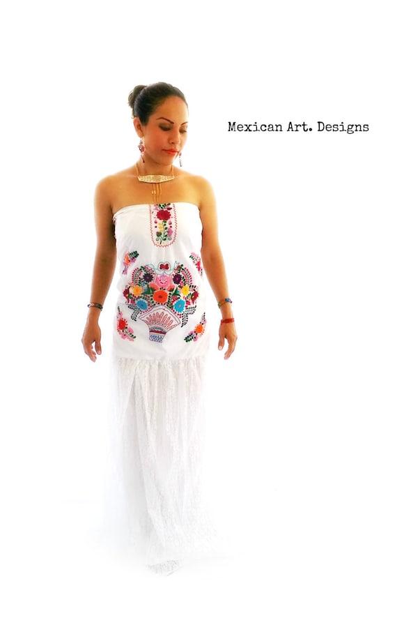 Lace wedding Mexican dress Strapless Dress Dress vintage Romantic dress wedding Bohemian Cotton Hand wedding Dress Embroidery nHwxX6qT4O