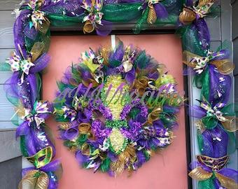 Spiral Mardi Gras Wreath, Mardi Gras Wreath, Mardi Gras, Wreath, New Orleans, Carnival, Louisiana, Fleur di lis