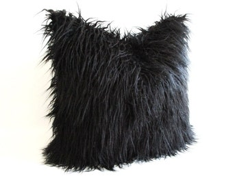 Pillow Cover Black Curly Mongolian Lamb Faux Fur Zipper