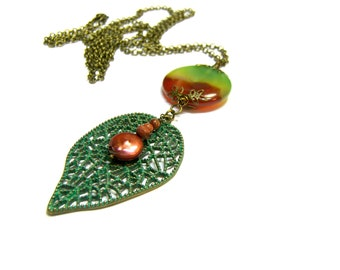Rainbow Coin Agate Pendant, Boho Long Coin Pendant, Coin Pendant, Rainbow Agate, gift for her, mother's day gift, coin pendant
