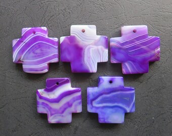 AS PICTURED- 5pcs Large Purple Stripe Agate Cross Pendant 42x42mm- top drilled