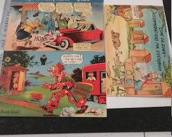 Vintage utilisé parodie lot de cartes postales