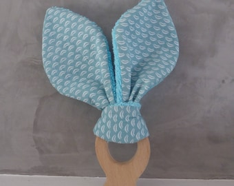 Teething ring small fish fabric with blue and white