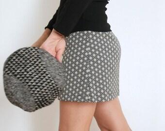 Cotton Skirt - Mini Skirt - Short Skirt - Cotton Mini Skirt - Short Cotton Skirt - Modern Skirt - Above The Knee Skirt - Geometric Skirt