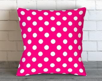 Hot Pink Polka Dot Pillow, Polka Dot Bedding, Hot Pink Pillow, Polka Dot Cushion,Hot Pink Bedding, Polka Dot Pillow Cover, Hot Pink Pillows