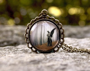 Sanctuary, Gothic Angel Necklace, 24 Inch Chain, Vintage Inspired Art Jewelry, Antique Gold Brass