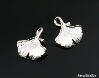 Ginkgo Leaves Pendatns in Matte Rhodium / 14mm x 16.3mm / BMS215-P (2pcs)