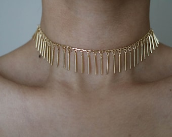 Jungle Drop 16K Gold Plated Choker - Gold Necklace - Gold Chain Choker - Gold Chain Necklace - Gold Choker