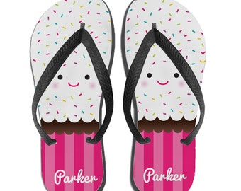 Beach Sandals, Cupcake Flip Flops, Womens Flip Flops, Girls Flip Flops, Gifts for Girls, Beach Gifts, Cupcake Theme, Cupcake Party