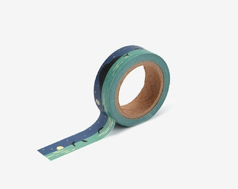 NIGHT SEA WASHI Tape | Masking Tape | Korean Washi Tape | Deco Tape | Scrapbooking | Japanese Tape | Paper Tape | Diy |Planner Tape |Dolphin
