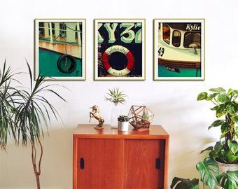 Set of 3 Retro Boat Prints, Nautical Wall Art, Set of 3 Prints, Bathroom Wall Art, Set of 3 Wall Art, Bathroom Wall Decor, Set of 3