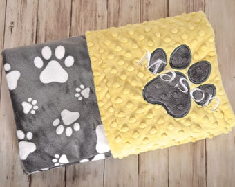 Minky Monogrammed Baby Blanket, Personalized Monogram, Puppy Dog Blanket, Yellow with Gray Paw Prints, Blanket with Name. Soft Pet blanket
