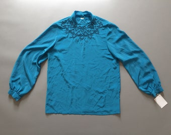 Victorian inspired silk blouse | embroidered silk poet blouse | electric blue silk blouse