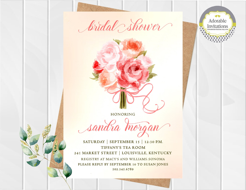Wedding Bouquet Bridal Shower Invitation Bridal Shower
