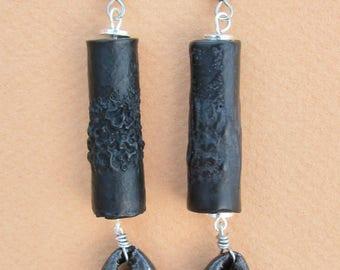Long black cowrie shell wooden tribal dangle earrings
