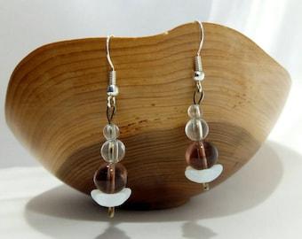 Purple and White Glass Bead Drop Earrings