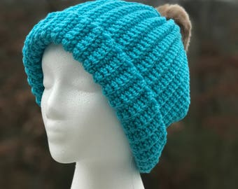 Teal Slouchy Crochet Beanie hat with Faux Fur pompom