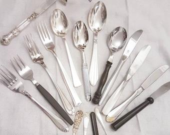 Mismatched Scandinavian Style flatware, silverware set, Service for 4, 8, 12+, cutlery set, flatware set, wedding favors, mothers day gift