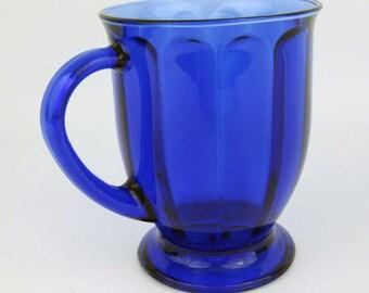 Vintage Anchor Hocking Paneled Cobalt Blue Glass Footed Pedestal Coffee Mug