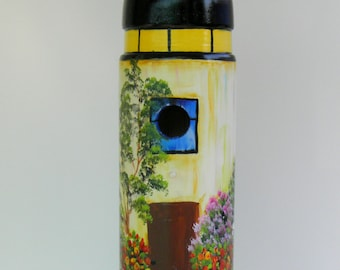 Eco - Friendly , Lighthouse Birdhouse , Handcrafted , Hand Painted , One of a Kind