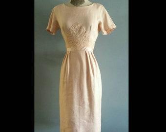1950s linen sheath dress by Mort Schrader.