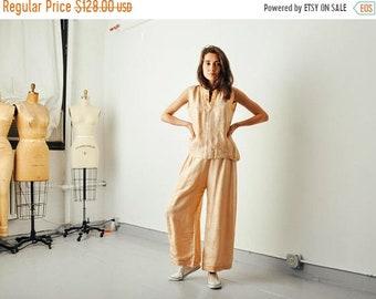 ON SALE - Vintage 20s Silk Peach Pajama Pant Set