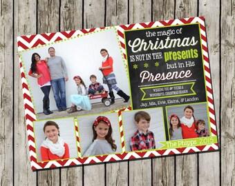 Photo Christmas Card | Chevron Chalkboard | Photo Holiday Card | Digital Christmas Card {L3}