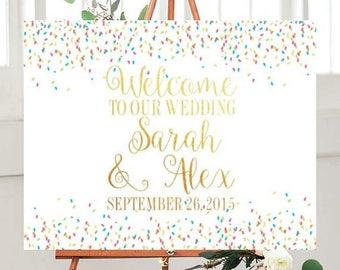 Wedding Welcome Sign, Wedding Printables, Wedding Signs Printable, Confetti Wedding Sign,  Custom wedding sign